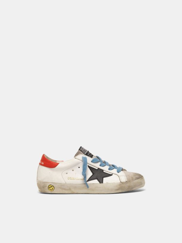 Golden Goose - Super-Star sneakers with red heel tab and sky blue laces in