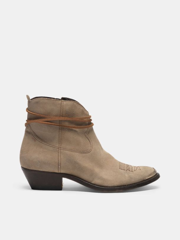 Golden Goose - Young ankle boots in suede with cowboy-style decoration in