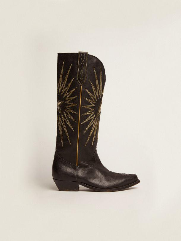 Golden Goose - Stivali Wish Star in pelle lucida con decorazioni western in