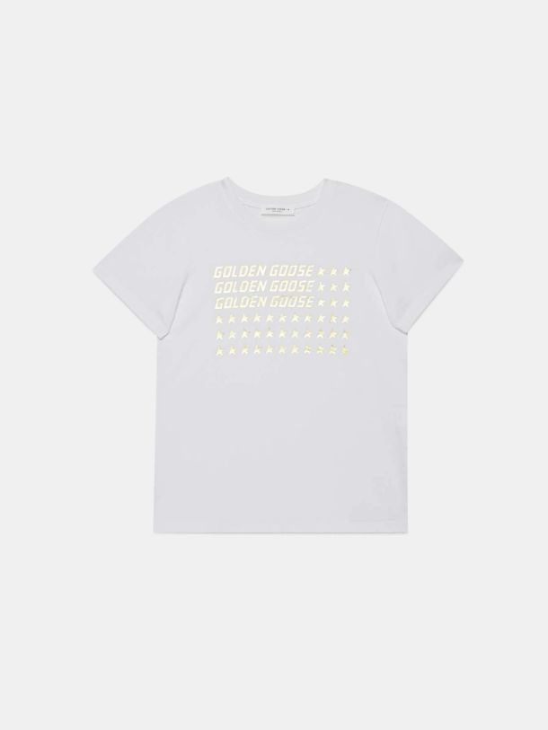 Golden Goose - White Venice T-shirt with gold flag print in