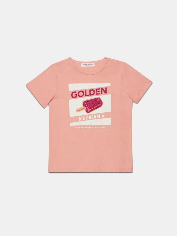 Golden Goose - Pink Golden T-shirt with vintage ice lolly print in