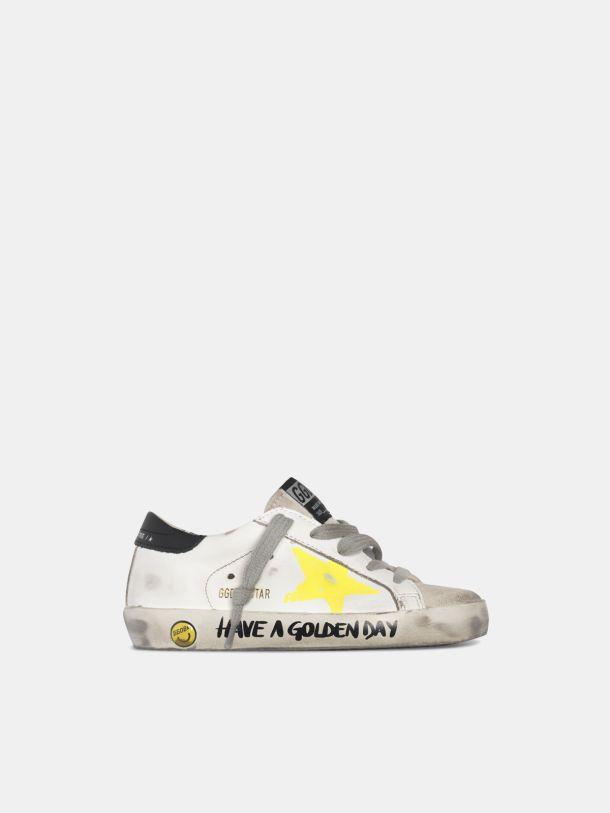 Golden Goose - Sneakers Super-Star avec étoile peinte et inscription sur la bande de renfort in