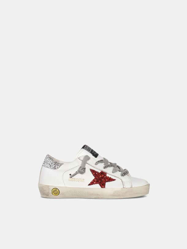 Golden Goose - Super-Star sneakers with glittery red star and glittery silver heel tab in