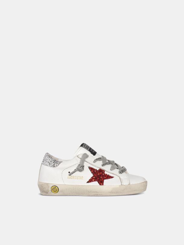 Golden Goose - Sneakers Super-Star con stella glitter rossi talloncino glitter argento in