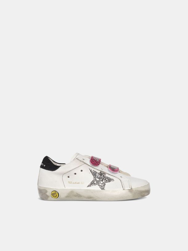 Golden Goose - Old School sneakers with glittery star and fuchsia snakeskin-print heel tab in