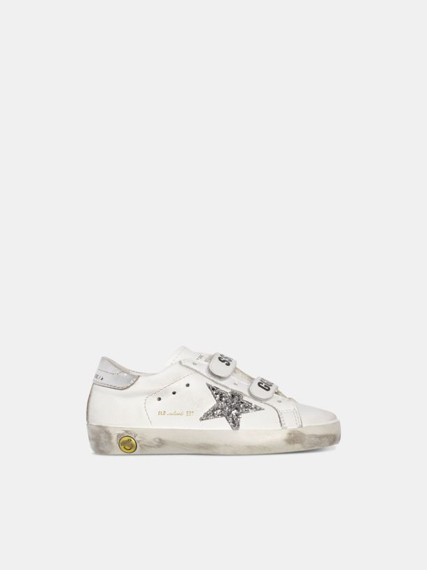 Golden Goose - White Old School sneakers with glittery star and silver heel tab in