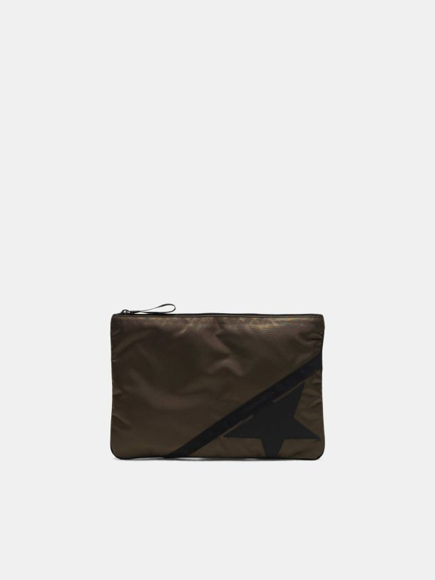 Golden Goose - Pouch Journey large in nylon verde militare in