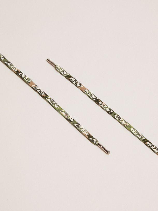 Golden Goose - Lacci donna mimetici verdi con stampa laces bianca in