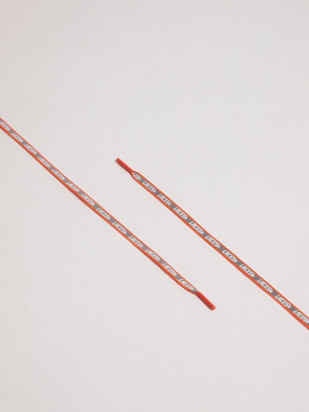Golden Goose - Lacci donna riflettenti arancio fluo con stampa laces   in