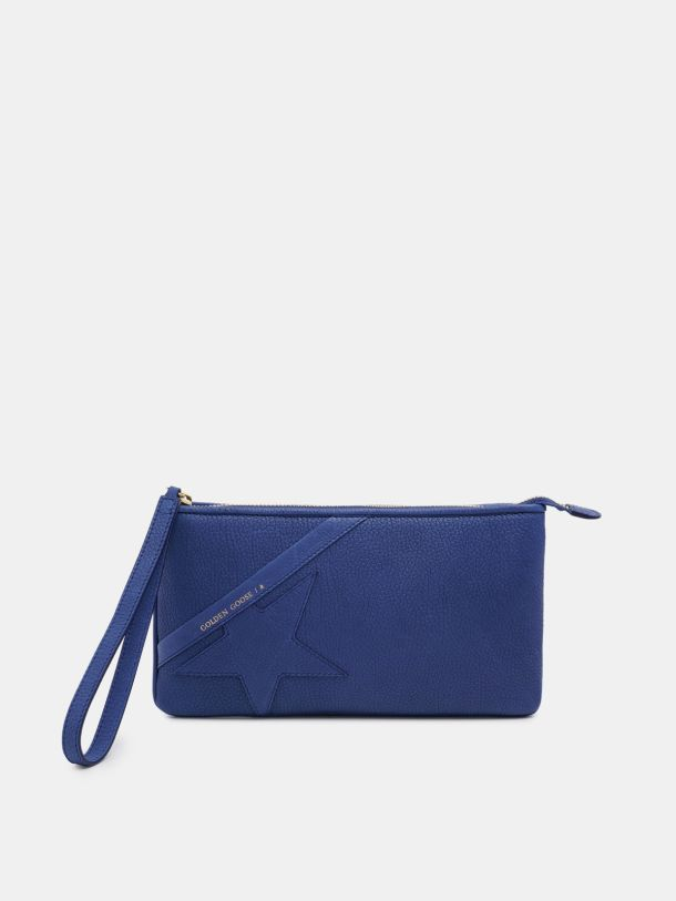 Golden Goose - Blue Star Wrist clutch bag in grained leather in