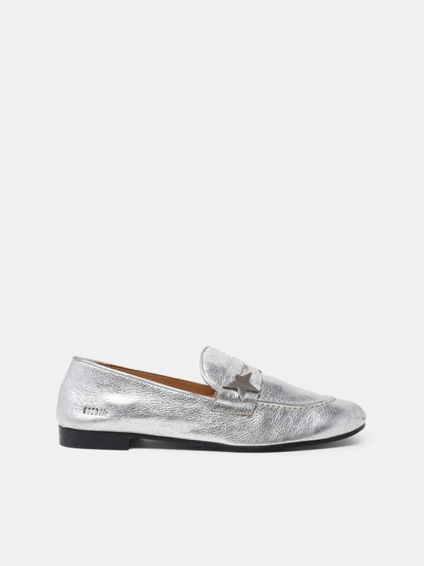 Golden Goose - Virginia loafers in silver leather in