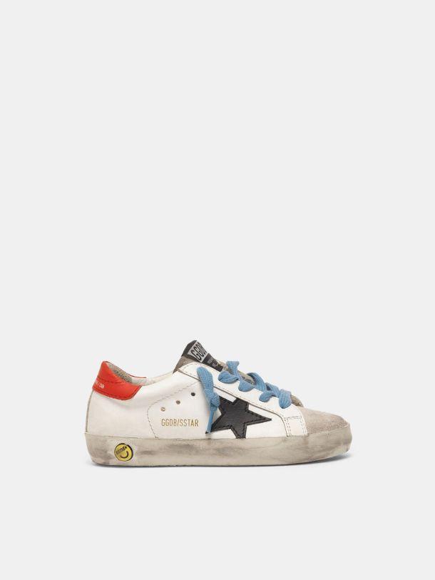 Golden Goose - Zapatillas deportivas Super-Star con refuerzo de talón rojo y cordones azules in