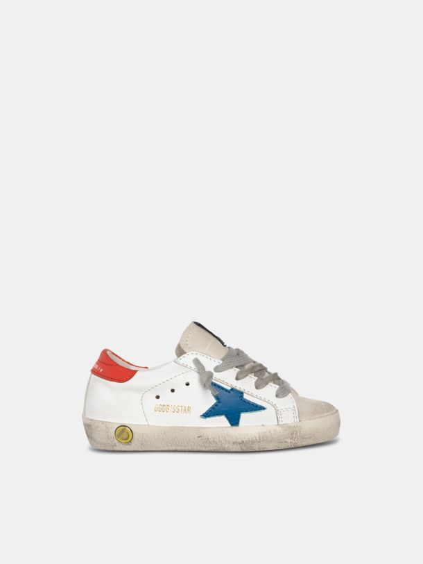 Golden Goose - Sneakers Super-Star avec étoile bleue et contrefort rouge in