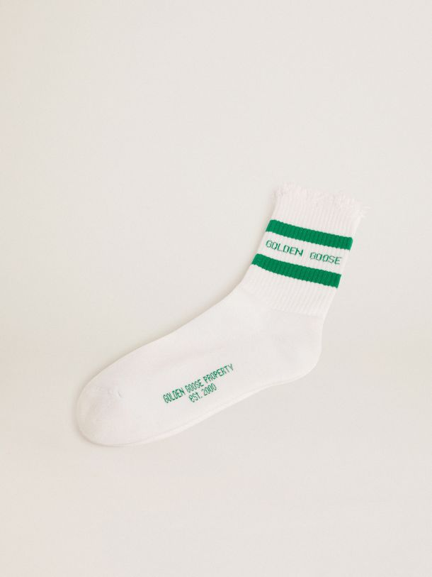 Calzini in cotone con finiture distressed, stripes verdi e logo Golden Goose