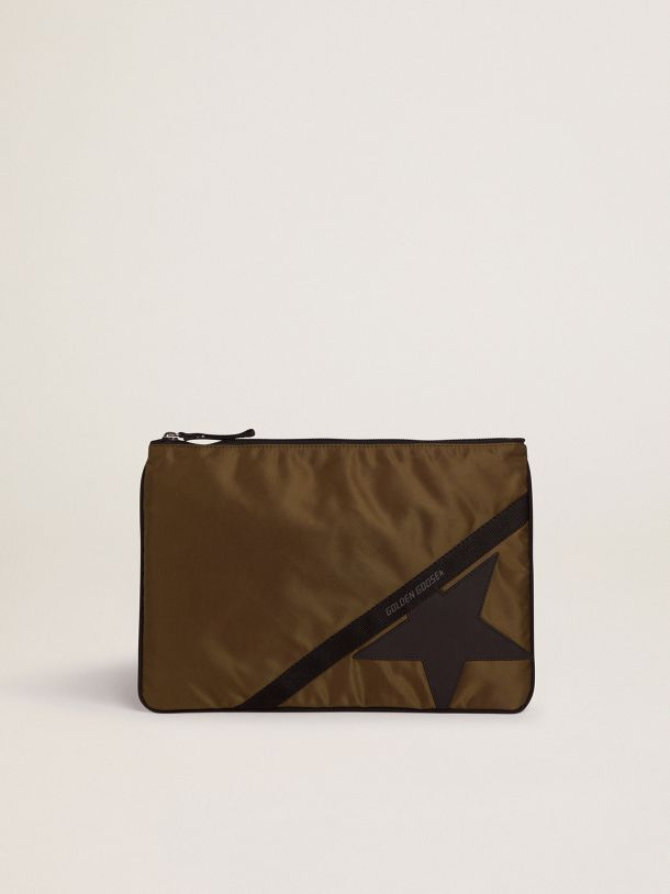 Golden Goose - Large military-green nylon Journey pouch in
