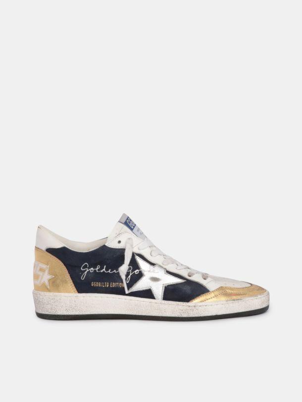 Golden Goose - Sneaker Ball Star LTD in suede e dettagli in pelle laminata oro e argento in