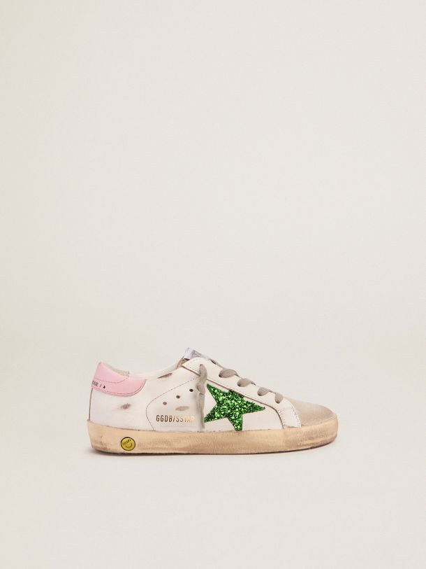 Golden Goose - Super-Star sneakers with green glitter star and pink heel tab in