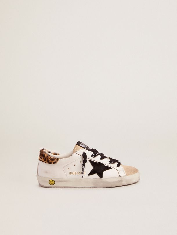 Golden Goose - Super-Star sneakers with leopard-print pony skin heel tab and black suede star in