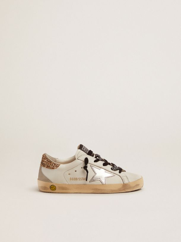 Golden Goose - White leather Super-Star sneakers with glittery heel tab in