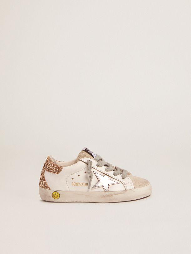 Sneakers Super-Star avec contrefort à paillettes dorées et étoile argentée lamée