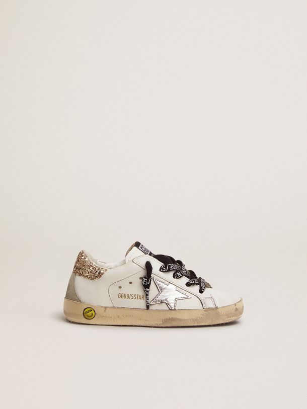 White leather Super-Star sneakers with glittery heel tab
