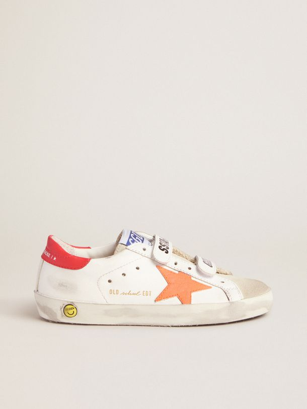 Golden Goose - Old School sneakers with Velcro fastening and fluorescent orange star in