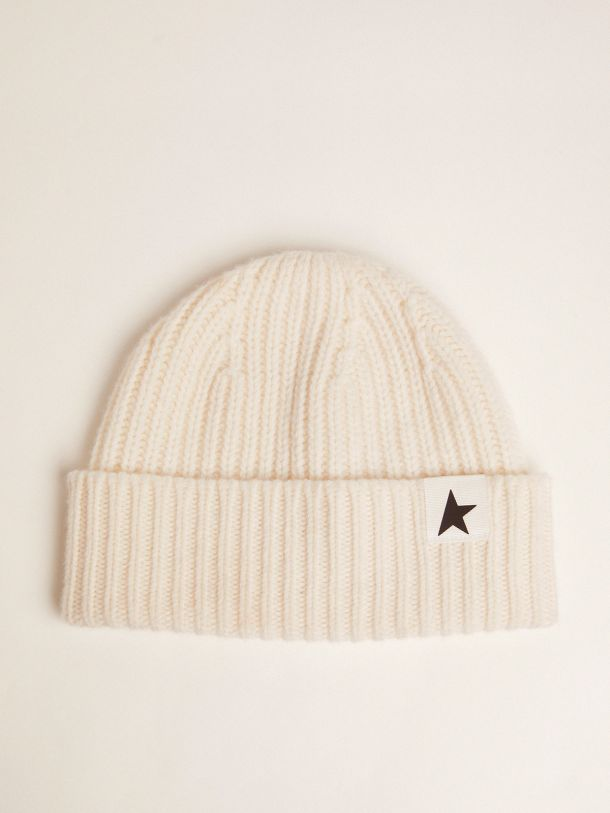 Golden Goose - Papyrus-white wool Damian Star Collection beret with contrasting black star in