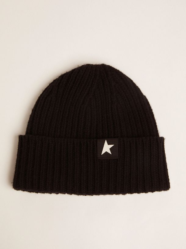 Golden Goose - Black wool Damian Star Collection beret with contrasting white star in