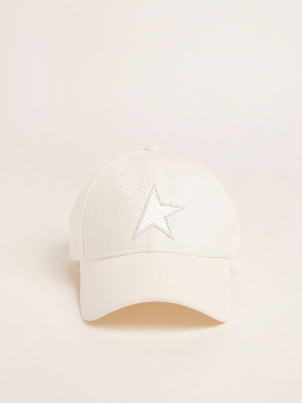 Golden Goose - Papyrus white Demos Star Collection baseball cap with tone-on-tone star in