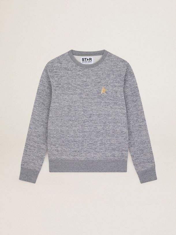 Golden Goose - Melange gray Athena Star Collection sweatshirt with gold star on the front in