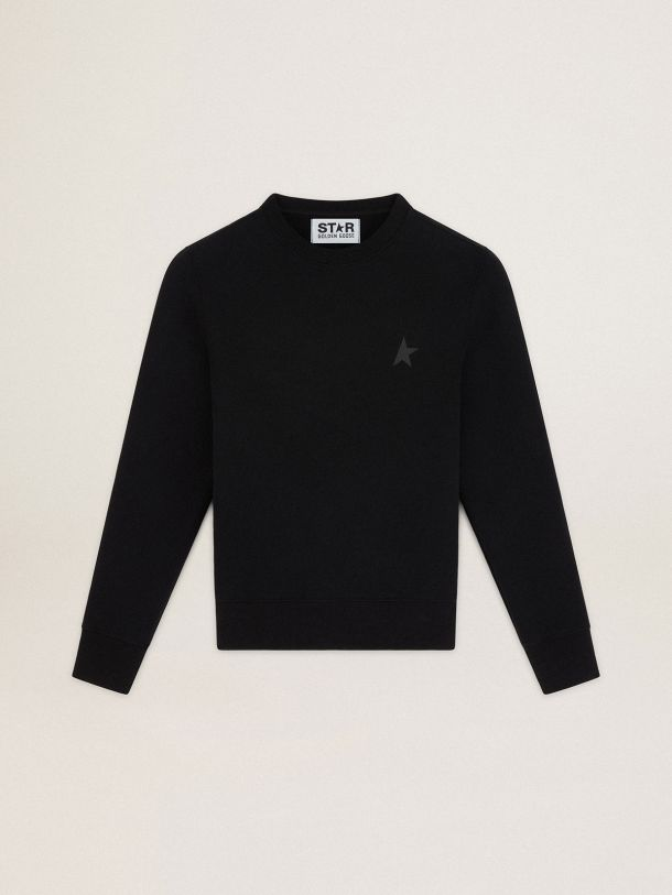 Golden Goose - Black Athena Star Collection sweatshirt with tone-on-tone star on the front in