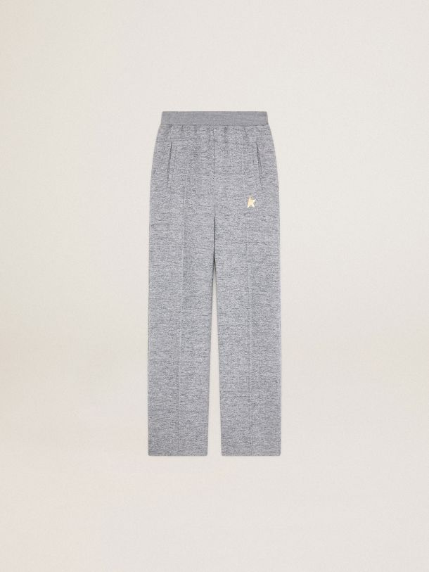 Golden Goose - Melange gray Dorotea Star Collection jogging pants with gold star on the front in