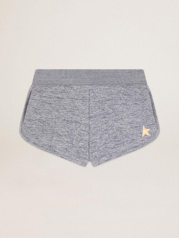 Golden Goose - Pantaloncini Diana Collezione Star di colore grigio mélange con stella dorata sul davanti in
