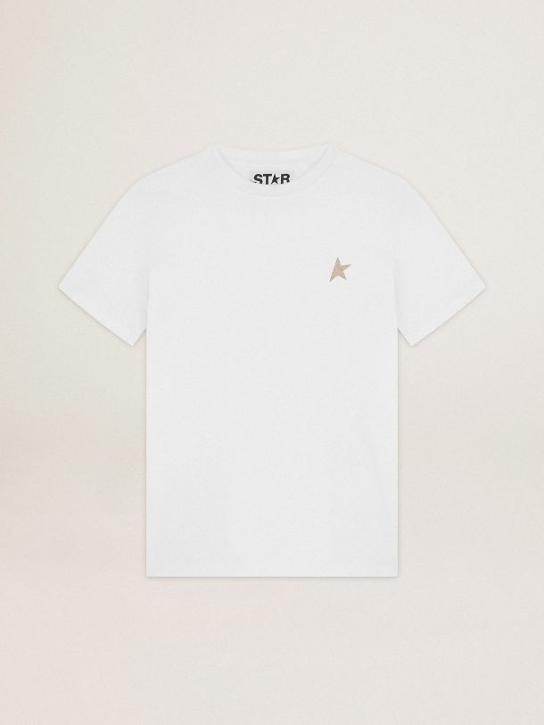 T-shirt bianca Collezione Star con stella in glitter dorati sul davanti