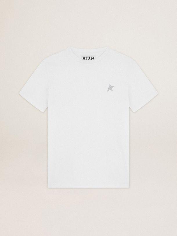Golden Goose - T-shirt bianca Collezione Star con stella in glitter argento sul davanti in