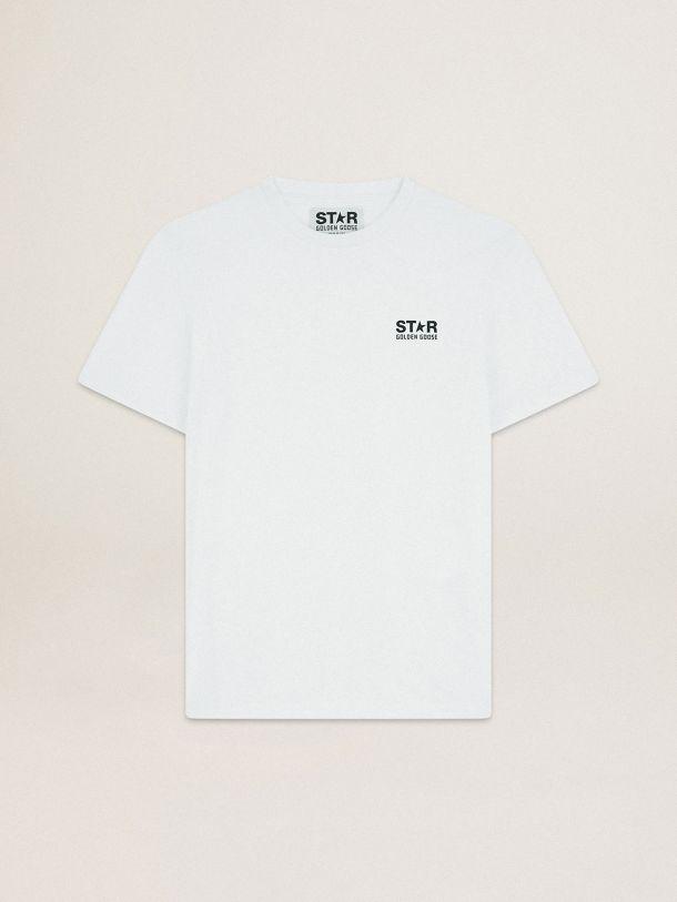 Golden Goose - T-shirt bianca Collezione Star con logo e stella neri a contrasto in