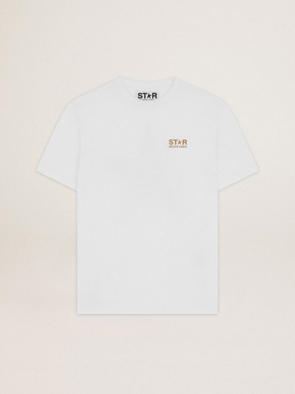 Golden Goose - White Star Collection T-shirt with logo and star in gold glitter in