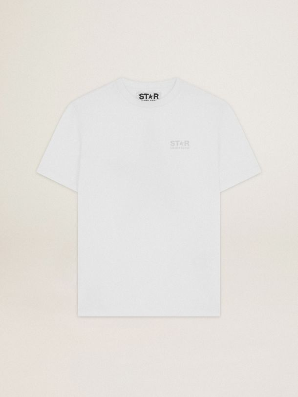 White Star Collection T-shirt with logo and star in silver glitter