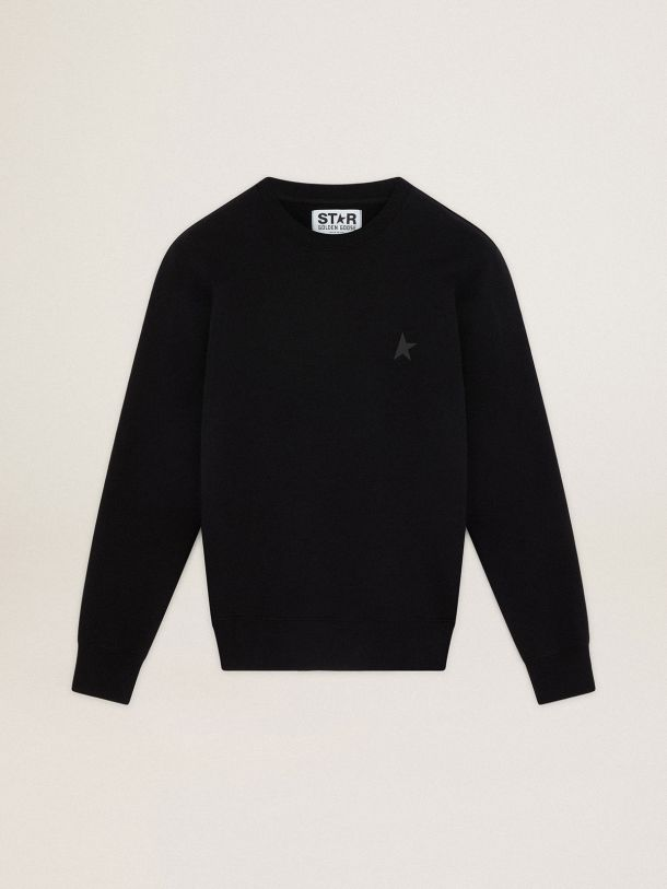 Golden Goose - Black Archibald Star Collection sweatshirt with tone-on-tone star on the front in