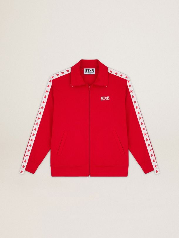 Red Denis Star Collection zipped sweatshirt with red stars