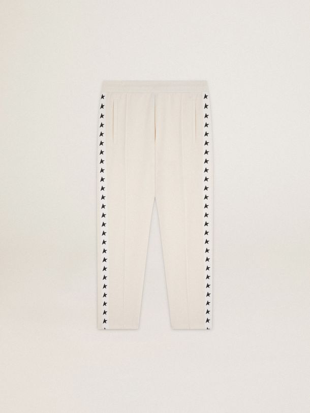 Golden Goose - Papyrus white Doro Star Collection jogging pants with black stars on the sides in