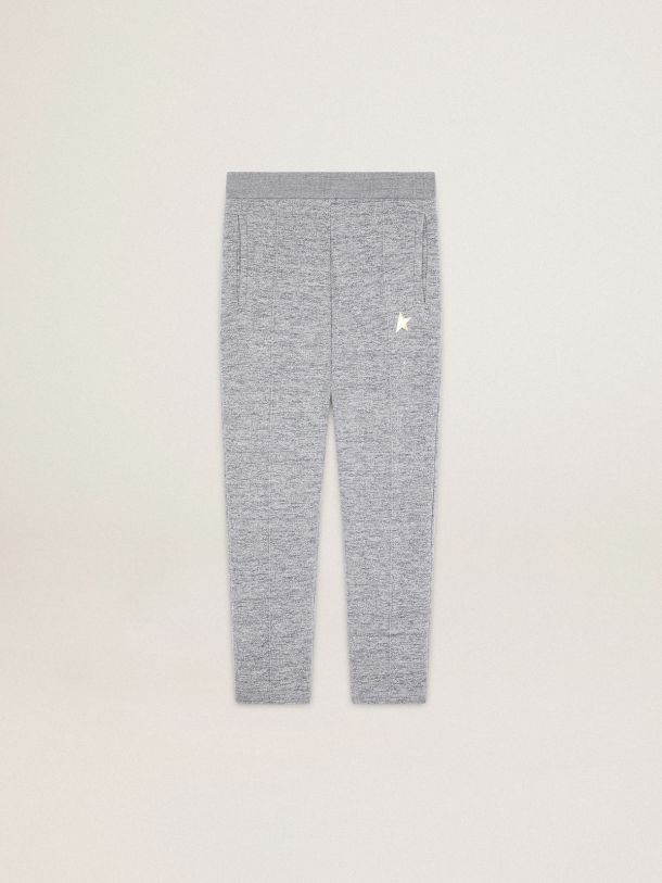 Golden Goose - Melange gray Doro Star Collection jogging pants with gold star on the front in