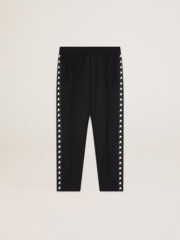 Golden Goose - Black Doro Star Collection jogging pants with white stars on the sides in