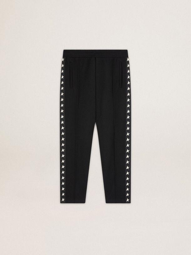 Golden Goose - Pantalone jogging Doro Collezione Star di colore nero con stelle bianche sui lati in