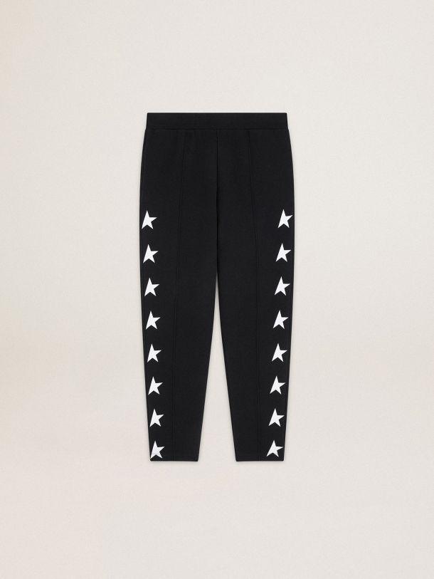 Pantalone jogging Doro Collezione Star di colore nero con stelle bianche a contrasto