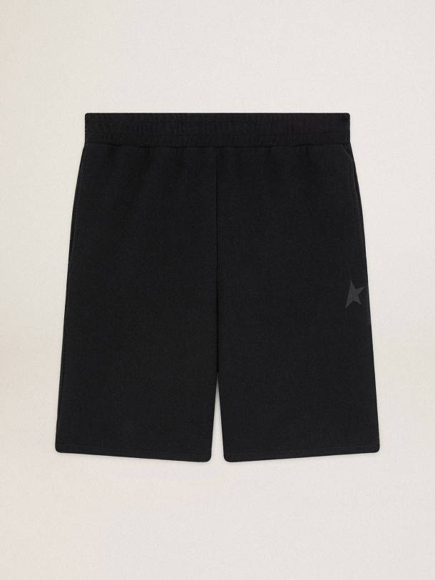 Golden Goose - Black Diego Star Collection Bermuda shorts with tone-on-tone star on the front in
