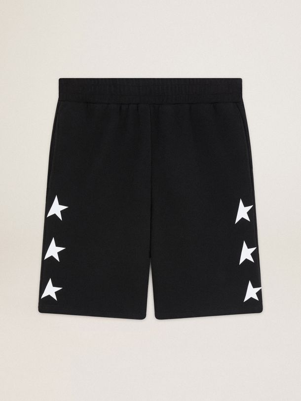 Golden Goose - Black Diego Star Collection Bermuda shorts with contrasting white stars in
