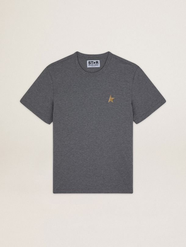 Golden Goose - Melange gray Star Collection T-shirt with gold star on the front in