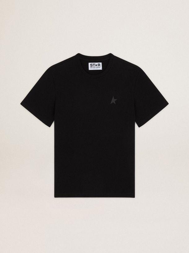 Golden Goose - T-shirt noir collection Star avec étoile ton sur ton sur le devant in