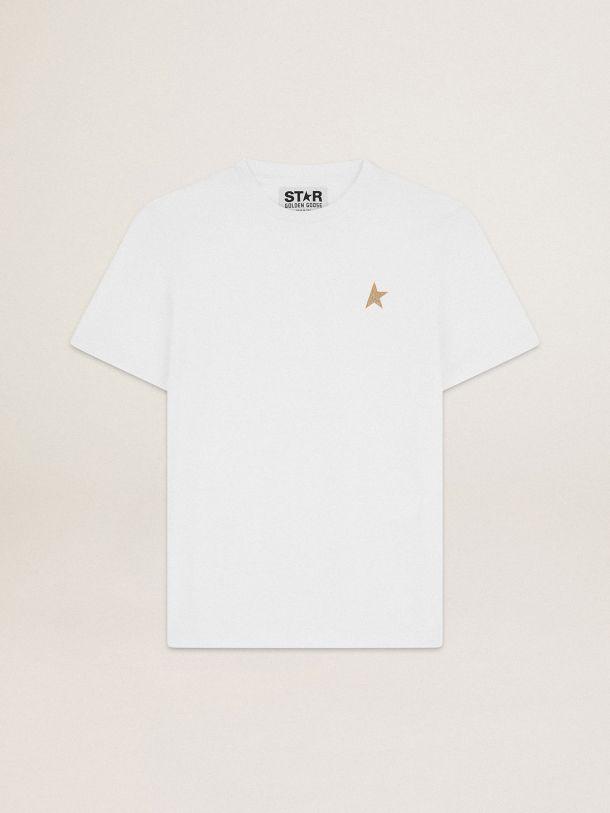 Golden Goose - T-shirt bianca Collezione Star con stella in glitter dorati sul davanti in